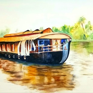 CRUISING THE BACKWATERS by Laasya Upadhyaya, Impressionism Painting, Watercolor on Paper, Beige color