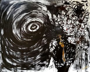 Stress - A Blackhole by Sushmita Lahiri, Illustration Painting, Acrylic on Canvas, Gray color