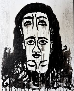 Drowned In Thoughts by Sushmita Lahiri, Illustration Painting, Acrylic on Canvas, Gray color