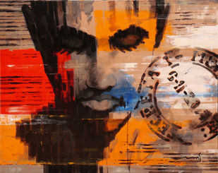 Stamp series -208 by Devidas Dharmadhikari, Expressionism Painting, Acrylic on Canvas, Brown color