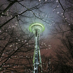 Space Needle by Dinesh Shringi, Image Photography, Canvas on Board, Gray color