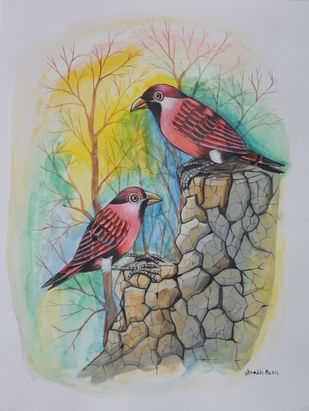 Birds Painting 54 by santosh patil, Impressionism Painting, Watercolor on Paper, Gray color