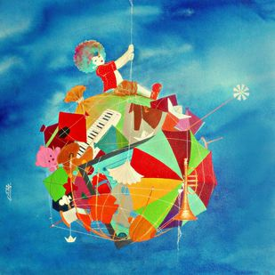 Treasure of the childhood xiv by shiv kumar soni, Expressionism Painting, Acrylic on Canvas, Blue color
