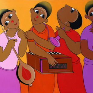 music series by Dnyaneshwar Bembade, Expressionism Painting, Acrylic on Canvas, Brown color