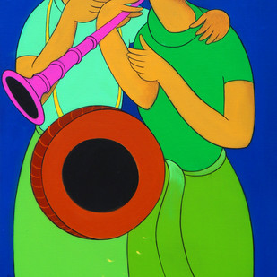 music by Dnyaneshwar Bembade, Expressionism Painting, Acrylic on Canvas, Green color