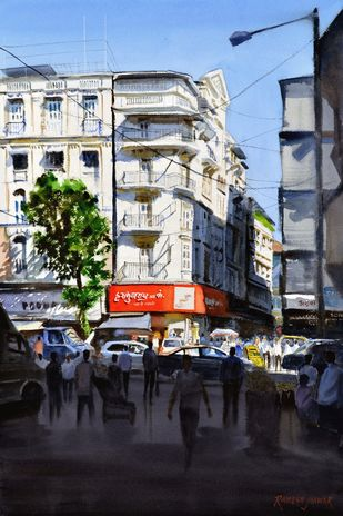 Mumbai hustle n bustle by Ramesh Jhawar, Impressionism Painting, Watercolor on Paper, Gray color