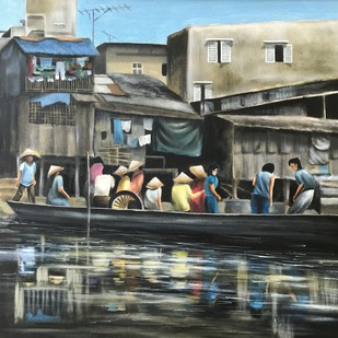 The Journey Begins by SOURAV SAHA, Realism Painting, Oil on Canvas Board, Gray color