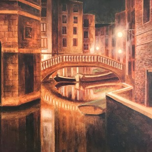 The Night Life by SOURAV SAHA, Realism Painting, Oil on Canvas Board, Brown color