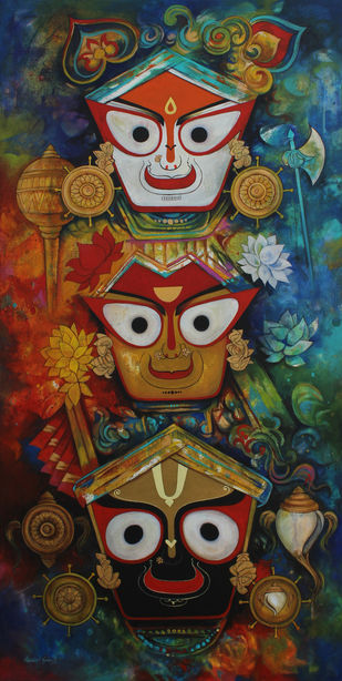 Jagannath by Rajeshwar Nyalapalli, Traditional Painting, Acrylic on Canvas, Brown color