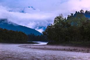 Misty Subansiri, Arunachal Pradesh by Minhajul Haque, Image Photography, Inkjet Print on Archival Paper, Cyan color