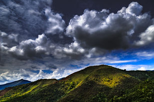 Light on Mountains by Minhajul Haque, Image Photography, Inkjet Print on Archival Paper, Blue color