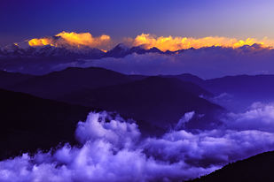 Cloudy Kangchenjunga by Minhajul Haque, Image Photography, Inkjet Print on Archival Paper, Blue color