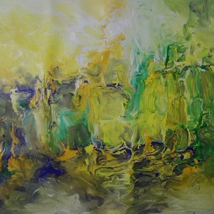 Forest Twilight by Broti Ganguly, Abstract Painting, Acrylic on Canvas, Green color