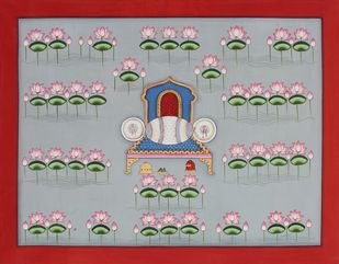 kamal Talai by Unknown Artist, Folk Painting, Stone Colour on Cloth, Gray color