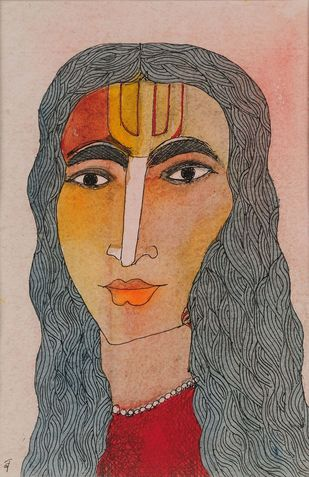 Vaishnavi by Badri Narayan, Expressionism Painting, Watercolor on Paper, Brown color