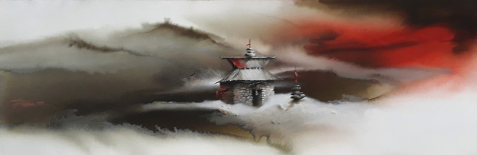 Untitled by Bikas Poddar, Impressionism Painting, Watercolor on Paper,