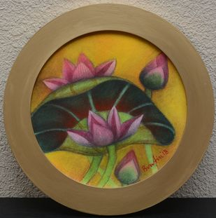 Round Lotus Pond by Bratin Khan, Expressionism Painting, Tempera on Canvas, Brown color
