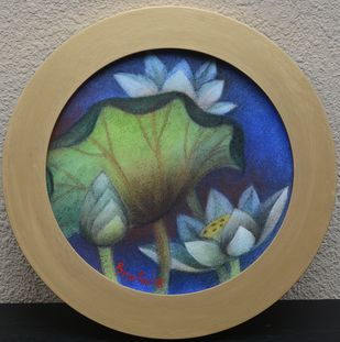 Round Lotus Pond by Bratin Khan, Expressionism Painting, Tempera on Canvas, Beige color