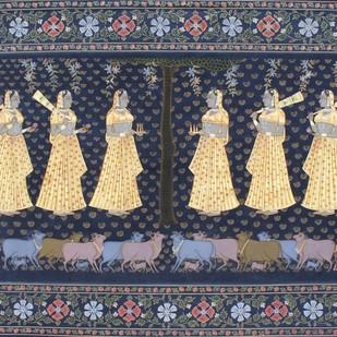 Kunj Eka Dashi by Unknown Artist, Folk Painting, Stone Colour on Cloth, Gray color