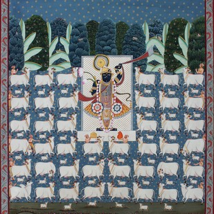 Shrinath Ji With Cows by Unknown Artist, Folk Painting, Stone Colour on Cloth, Green color