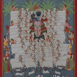 Gopashtami by Unknown Artist, Folk Painting, Stone Colour on Cloth, Brown color