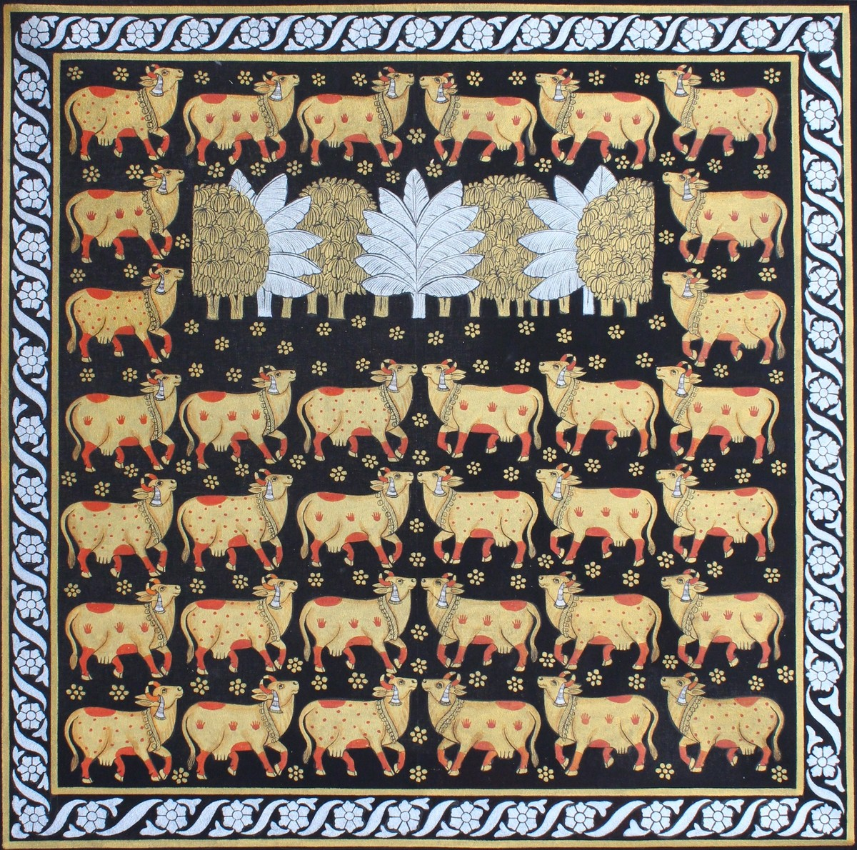 Cows by Unknown Artist, Folk Painting, Stone Colour on Cloth, Brown color