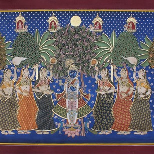 Vrikhshachari by Unknown Artist, Folk Painting, Stone Colour on Cloth, Brown color