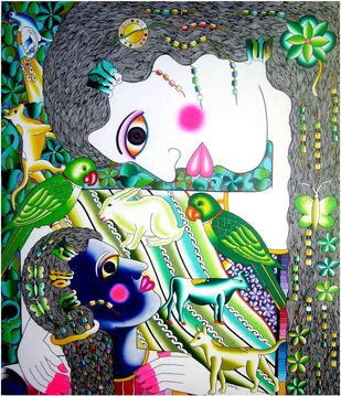 Mother and child by Ravi Kattakuri, Expressionism Painting, Acrylic on Canvas, Green color