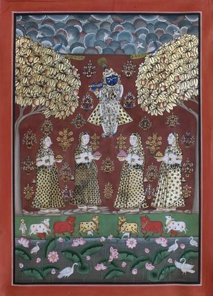 Kunj Eka Dashi by Unknown Artist, Folk Painting, Stone Colour on Cloth, Brown color