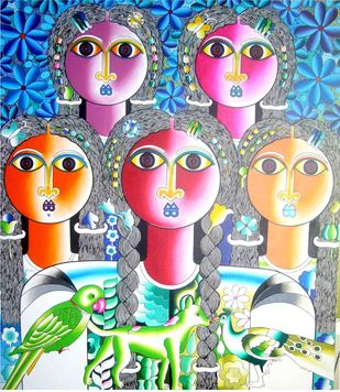Friends by Ravi Kattakuri, Expressionism Painting, Acrylic on Canvas, Cyan color