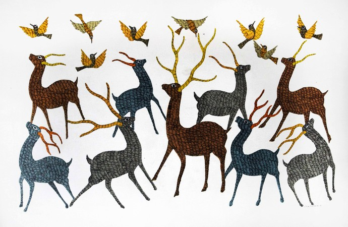 Gond art by Gariba Singh Tekam, Tribal Painting, Acrylic on Canvas, Gray color