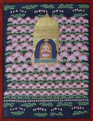 mahavir swami by Unknown Artist, Folk Painting, Stone Colour on Cloth, Brown color