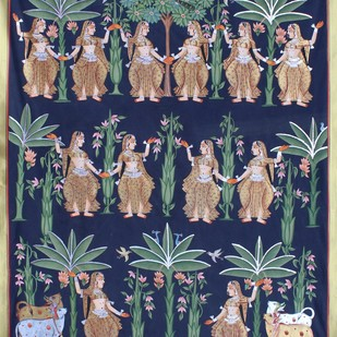 Vrikhshachari by Unknown Artist, Folk Painting, Stone Colour on Cloth, Blue color
