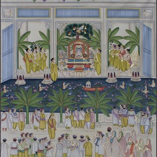 Darshan by Unknown Artist, Folk Painting, Stone Colour on Cloth, Gray color