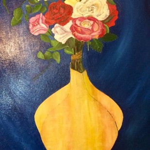 Roses in a vase by Alia Sayed, Expressionism Painting, Oil on Canvas Board, Blue color