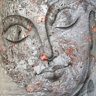 Buddha by prince chand, Expressionism Painting, Oil on Canvas, Gray color