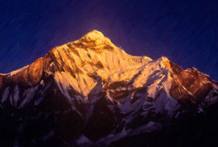 Glimpses of India-1 Nanda Devi East by Anil Sharma, Image Photography, Digital Print on Archival Paper, Blue color