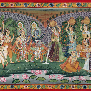 Krishna Leela by Unknown Artist, Folk Painting, Stone Colour on Cloth, Brown color