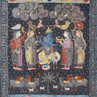Krishna Leela by Unknown Artist, Folk Painting, Stone Colour on Cloth, Gray color