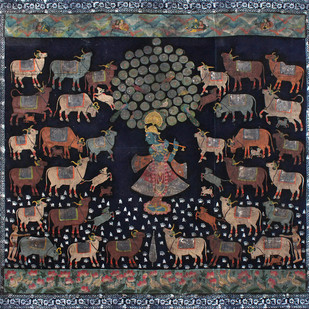 Gopashtami by Unknown Artist, Folk Painting, Stone Colour on Cloth, Gray color