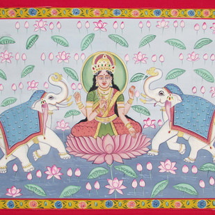 Laxmi Vandana by Unknown Artist, Folk Painting, Stone Colour on Cloth, Gray color