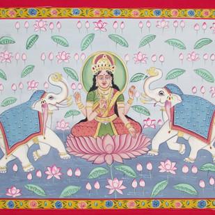 Laxmi Vandana by Unknown Artist, Folk Painting, Stone Colour on Cloth, Gray color