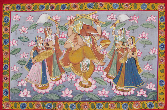 Vinayaka Praise by Unknown Artist, Folk Painting, Stone Colour on Cloth, Brown color