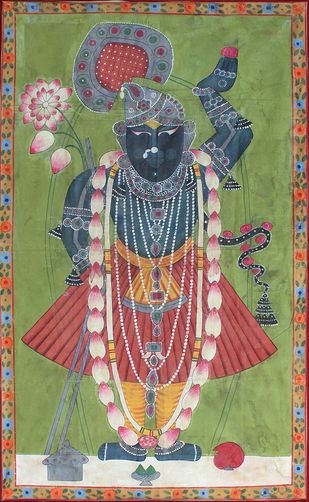 Mangala Darshan by Unknown Artist, Folk Painting, Stone Colour on Cloth, Beige color