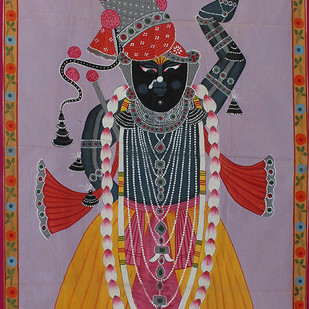 Mangala Darshan by Unknown Artist, Folk Painting, Stone Colour on Cloth, Brown color