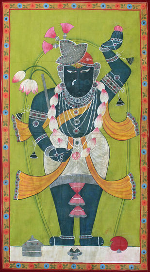 Mangala Darshan by Unknown Artist, Folk Painting, Stone Colour on Cloth, Green color