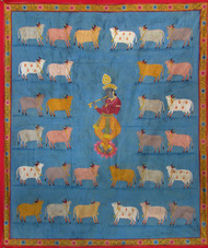 Gopashtami by Unknown Artist, Folk Painting, Stone Colour on Cloth, Green color