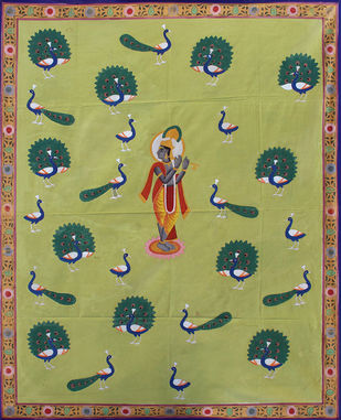 Morakuti by Unknown Artist, Folk Painting, Stone Colour on Cloth, Beige color