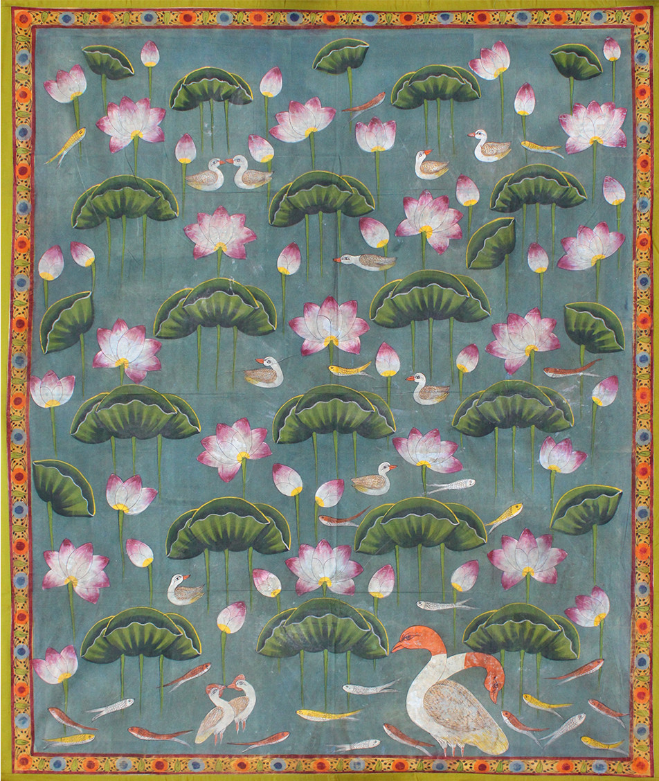 Kamal Taalai by Unknown Artist, Folk Painting, Stone Colour on Cloth, Green color