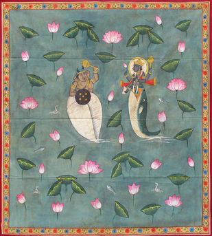Matsya krida by Unknown Artist, Folk Painting, Stone Colour on Cloth, Green color